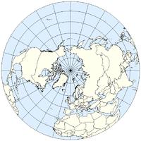Το βόρειο ημισφαίριο με τον Βόρειο Πόλο στο κέντρο