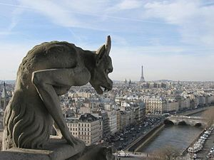 A view of Paris from the Galerie des Chimères ...