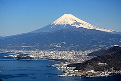 Numazu city centre and Mount Fuji