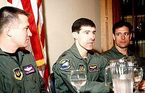 Scott O'Grady - Scott O'Grady (center) at a press conference after his rescue by U.S. Marines.