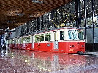 Štrba railway station - A class 405.95 rack railway train at the station