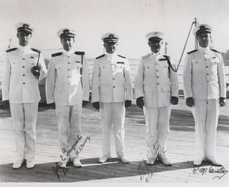 William A. Worton - Worton (second fron right) during his service as Force Marine Officer, Battleship Division 3 with members of his staff on USS Idaho.