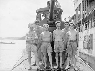 HMS Trident (N52) - Crew of Trident in late July 1945, towards the end of the war.