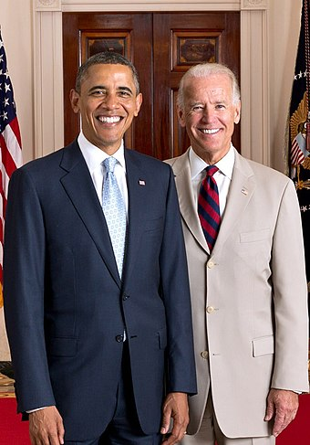 Biden with President Barack Obama, July 2012 Official portrait of President Obama and Vice President Biden 2012.jpg