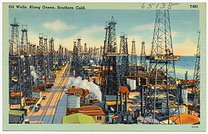 History of California 1900 to present - Postcard view of oil fields c.1940s