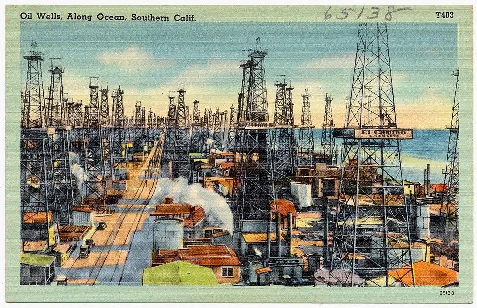 Oil Wells, Along Ocean, Southern Calif (65138)