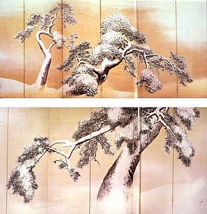 Maruyama Ōkyo - Pine Trees, c. 1780; pair of sixfold screens.