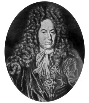 Rømer's determination of the speed of light - Ole Rømer (1644–1710) was already a statesman in his native Denmark some time after his discovery of the speed of light (1676). The engraving is probably posthumous.