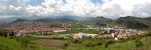 Olot - Panorama of Olot from Montsacopa volcano