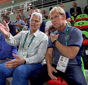 Bart Conner - Bart Conner (right) talking with Mark Spitz at the 2016 Summer Olympics in Rio de Janeiro