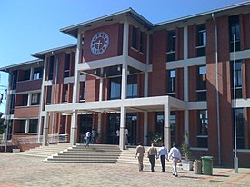 One of the main buidlings on the square in Francistown (3296267241).jpg