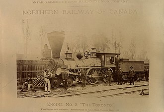 Northern Railway of Canada - Engine No. 2, The Toronto, seen in 1881 in Toronto.