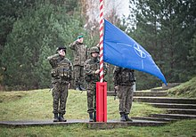 Three soldiers in camouflage stand in salute while a fourth raises a blue and white flag on a red and white striped flagpole.