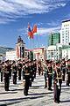 Orkiestra mongolskiej armii na placu Suche Batora w Ułan Bator 15.JPG