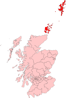 A map of northern Scotland. Two archipelagos to the north east of the mainland are highlighted.