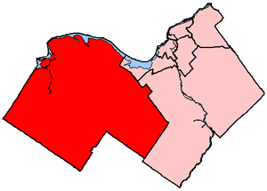 Carleton—Mississippi Mills - Carleton–Mississippi Mills in relation to other Ottawa-area electoral districts