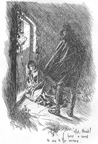 Jane Eyre - St. John Rivers admits Jane to Moor House, illustration by F. H. Townsend