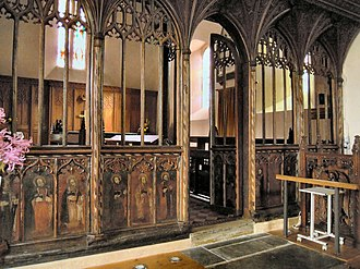 Church of St Peter ad Vincula, Combe Martin - The Rood Screen is 15th-century and retains its painted figures