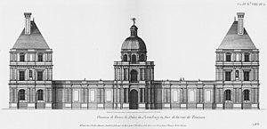 Salomon de Brosse - Image: Palais du Luxembourg Élévation du coté de l'entrée Architecture françoise Tome 2 Livre 3 Ch 8 Pl 5