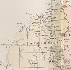 Palmerston County - Map of Palmerston County in 1886 showing the hundreds