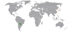 Map indicating locations of Paraguay and South Korea