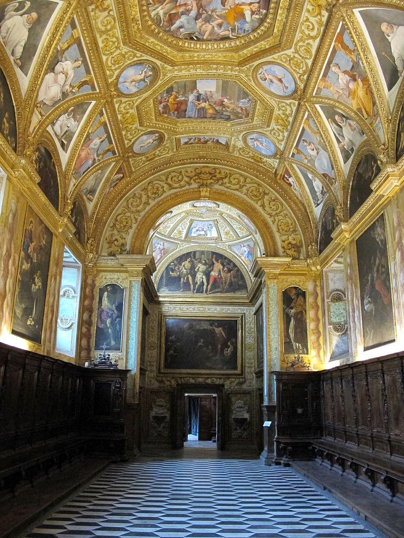 Passetto tra capitolo e parlatoio, con affreschi volta di bernardino cesari (1593) 02.JPG