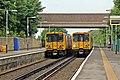 Passing trains, Hightown Railway Station (geograph 2994463).jpg