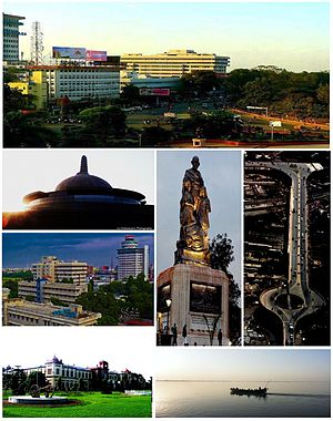 Anticlockwise from top: South-West Gandhi Maidan Marg, Stupa of Buddha Smriti Park, Skyline near Biscomaun Bhawan, Patna Museum, river Ganges, Mithapur Flyover and Statue of Mahatma Gandhi in Gandhi Maidan