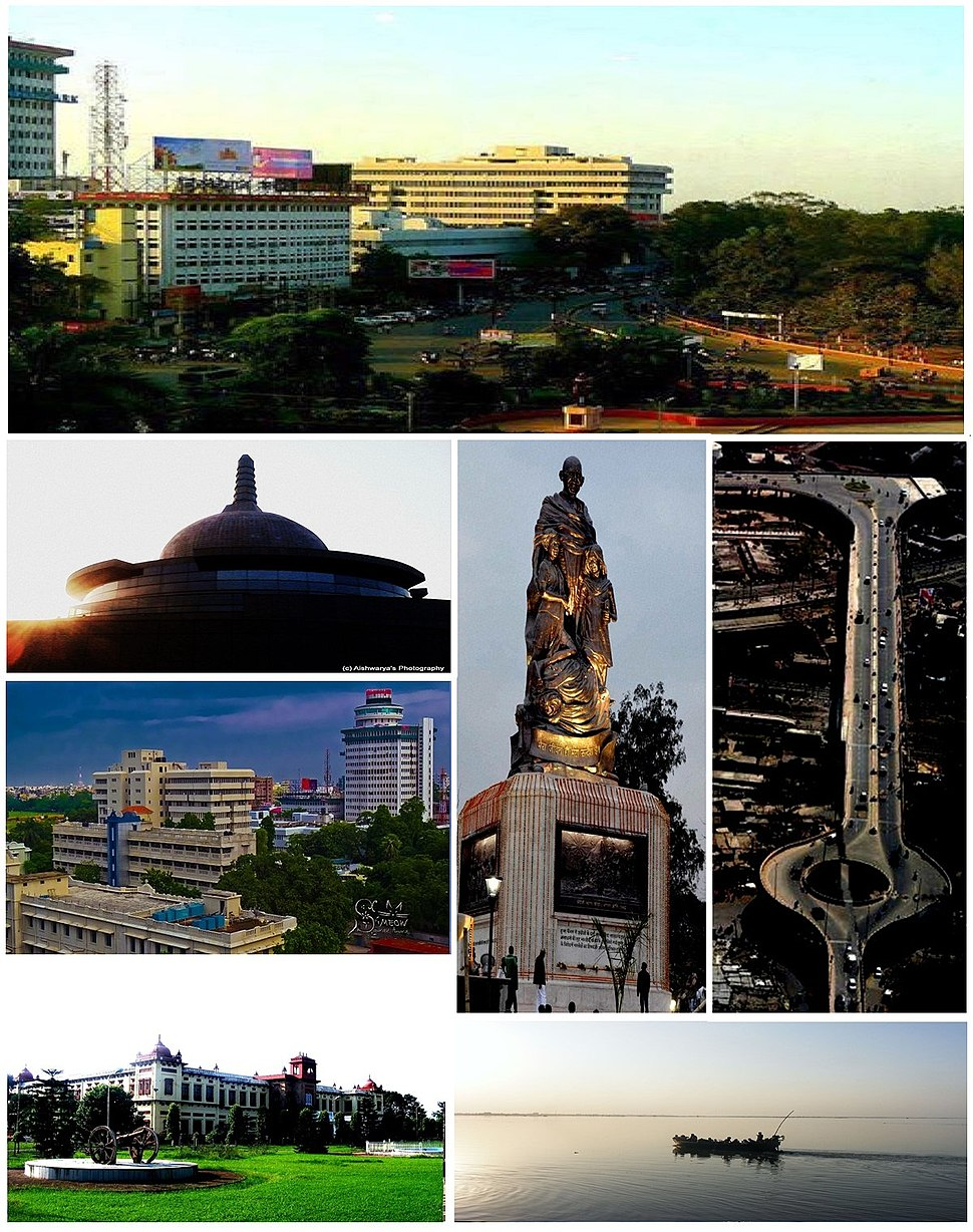 Anticlockwise from top: South-West Gandhi Maidan Marg, Stupa of Buddha Smriti Park, Skyline near Biscomaun Bhawan, Patna Museum, Statue of Mahatma Gandhi in Gandhi Maidan, Mithapur Flyover and river Ganges