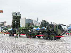 Patriot PAC-2 Launcher with HEMTT Display at CKS Memorial Hall Square 20140607a.jpg