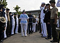 Pearl Harbor survivors and their families are saluted as they depart a Pearl Harbor 71st anniversary commemoration ceremony at the Pearl Harbor Visitor Center in Pearl Harbor, Hawaii 121207-N-DB801-414.jpg