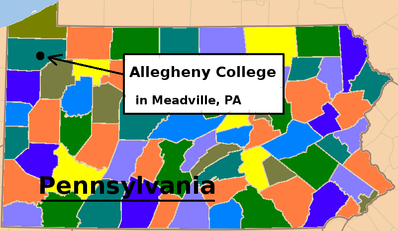 Pennsylvania Map Counties Allegheny College Meadville