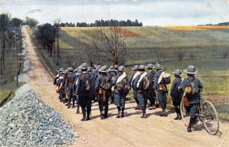 Scouting and Guiding in Germany - German Scouts of the YMCA before the World War I on an early color photograph
