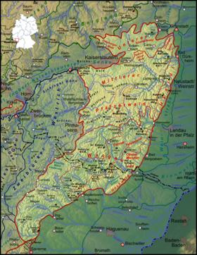 Carte de localisation de la forêt palatine incluant la Vasgovie.