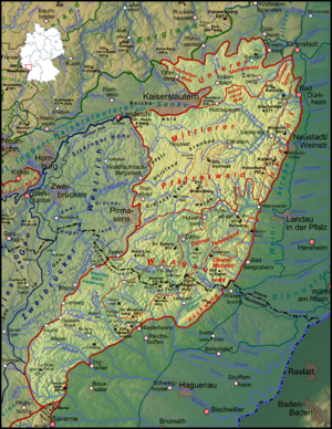 Palatinate Forest - The Palatinate Forest in southwest Germany and northeast France (delineated in red)