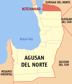 Map of Agusan del Norte showing the location of Kitcharao