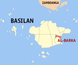 Map of باسیلان showing the location of Al-Barka