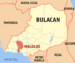Map of Bulacan showing the location of Malolos.