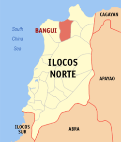 Map of Ilocos Norte showing the location of Bangui