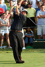 Mickelson teeing off on the last hole of his 2007 Players Championship win