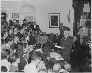 Presidency of Harry S. Truman - Truman announces Japan's surrender. Washington, DC, August 14, 1945