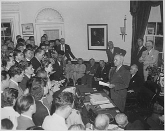 Presidency of Harry S. Truman - Truman announces Japan's surrender. Washington, DC, August 14, 1945
