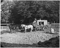 "Photograph of a stage coach. The coach is a ""mudwagon"" used to travel through rugged terrain. - NARA - 296584.tif"