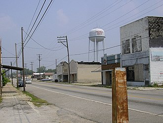 Picher, Oklahoma - A view looking north along Connell Ave, which was the main business district, 2007. The Picher Water Tower stands in the background.