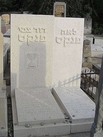 David-Zvi Pinkas - Pinkas' tomb (left, with his wife, Leah on the right) in Tel Aviv