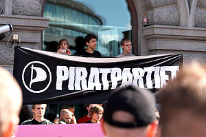 Pirate Party of Sweden - A Pirate Party banner at the demonstration held in Stockholm 3 June 2006.