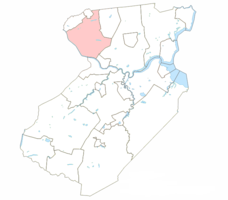 Location of Piscataway Township highlighted in Middlesex County.