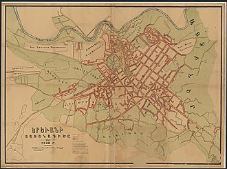 Map of Yerevan in 1920, made before the Soviet reconstruction of the city by Alexander Tamanyan in 1924. Taken looking west, with the Hrazdan River at the top rather than the left side Plan of Yerevan 1920.jpg