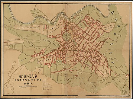 Map of Yerevan in 1920, made before the Soviet reconstruction of the city by Alexander Tamanyan in 1924. Taken looking west, with the Hrazdan River at the top rather than the left side