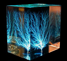 Lichtenberg figure, made by high-voltage electrical discharge through a block of acrylic